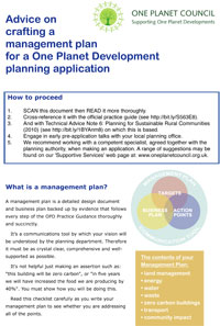 Cover of Advice on crafting a management plan for a One Planet Development planning application